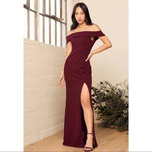 Lulu's Aveline burgundy off shoulder gown dress